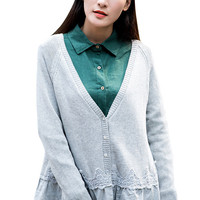 Lace Paneled Plunging Neck Button Down Loose Fit Knitted Cardigan For Women