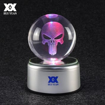Punisher Skull Logo 3D Crystal Ball Lamp LED Desktop 7 Color Rotate Glass