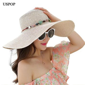 USPOP Hot women big brim sun hats foldable colorful stone hand made straw hat female summer hat casual shade cap beach hat