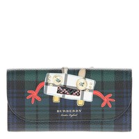 Burberry Women's Creature Applique Tartan Leather Wallet with Chain Green