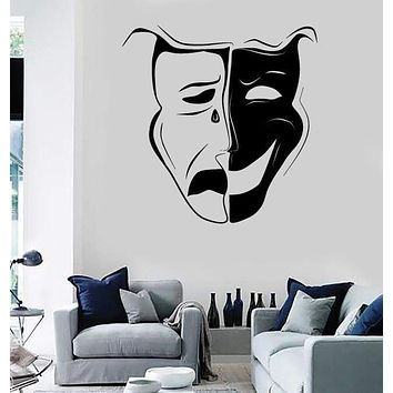 Wall Stickers Vinyl Decal Theatrical Mask Emotions Actor Art Decor Unique Gift (ig1799)