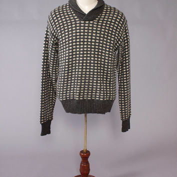 Vintage 60s SWEATER / 1960s Men's Norwegian Gray & Ivory Wool Shawl Collar Pullover Jumper L