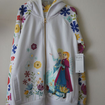 Authentic Disney Store Frozen Elsa & Anna White Hooded Sweatshirt Girl Size:9/10
