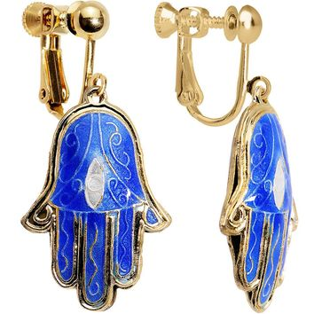 Handcrafted Gold Plated Beautiful Blue Hamsa Hand Clip On Earrings