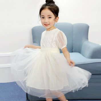 Summer Children Girls Lace Flower Dresses Baby Girl Dress Party Dance Kids Baby Princess Wedding Clothes Children Costumes 2-15T