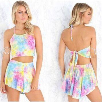 ONETOW Rainbow printing Sling Backless Rompers Sets