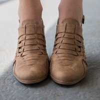 Picnic Perfect Camel Distressed Booties