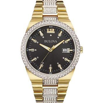 Bulova Mens Crystal Accented Watch - Two-Tone - Black Dial - Date Display