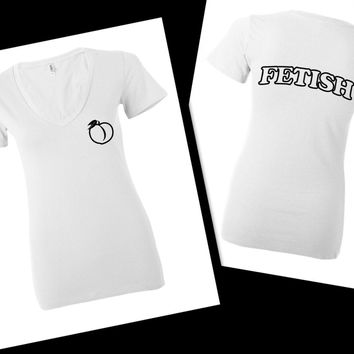 "Selena Gomez ""Fetish"" Bubble Letters Back / Peach in Corner Women's V-Neck T-Shirt"