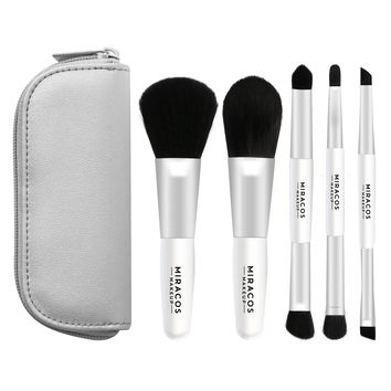 Travel Makeup Brush Set with Zippered Case