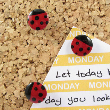 18 Ladybug Push Pins - Thumb Tacks - Office Accessories - Cork Board Decor - Custom Thumbtacks