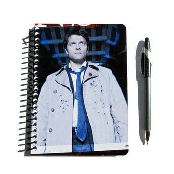 Castiel Supernatural Notebook Journal Upcycled Misha Collins Angel