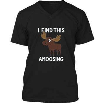 I Find This Amoosing T-Shirt - Funny Moose Amusing Pun Tee Mens Printed V-Neck T