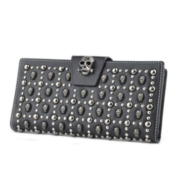 Punk Style Leather Card Holder Skull Unique wallet Clutch Purse