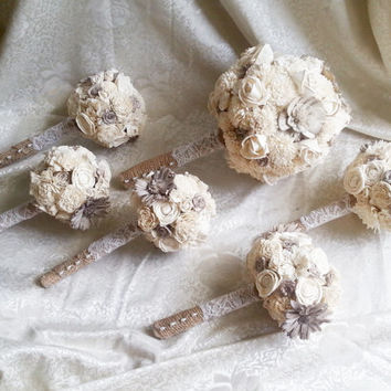 Bridal PACKAGE cream brown rustic wedding 1 BIG 5 small BOUQUETS Ivory Flowers, Burlap Handle, Bride Bridesmaids, sola roses vintage