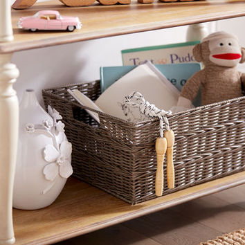 Collin Gray Wicker Shelf Storage Baskets