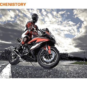 CHENISTORY DIY Painting By Numbers Modern Wall Art Motorcycle Picture By Numbers Hand Painted Acrylic Wall Painting For Home Art