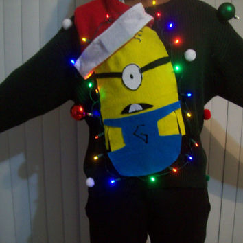"extra Large( xL) Lite UP Ugly Christmas Sweater  Men  Fun Minions Holiday Sweater "" with lights"