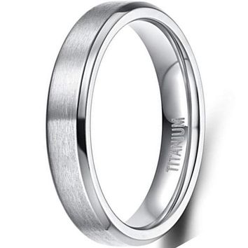 CERTIFIED 4MM/6MM/8MM Unisex Titanium Wedding Band Rings in Comfort Fit Matte Finish for Men Women