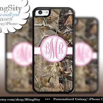 Camo Pink Monogram iPhone 5C 6 Plus Case iPhone 5s 4 case Ipod Realtree Cover Personalized real tree camo Country Inspired Girl