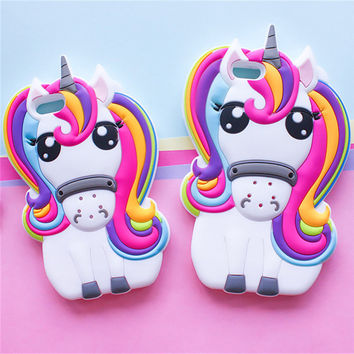 Hot Cute 3D Rainbow Unicorn Horse Animal Cartoon Soft Silicone Phone Cases Cover For iPhone 7 7Plus 4 4S 5S 5C SE 6 6G 6S 6Plus