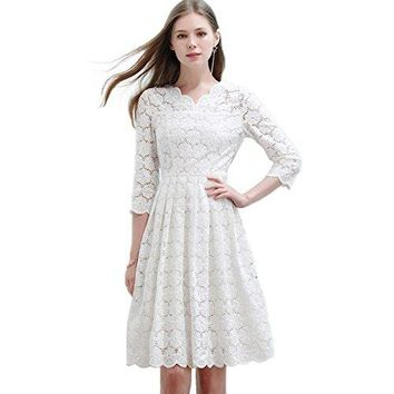 Only Plus White Lace Dress Women Slim Party Casual Hollow Out Elbow Sleeve circle Style V-Neck S-XXL