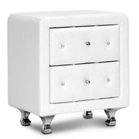 Two-Drawer Nightstand Crystal Button Tufted Bedroom Furniture White Faux Leather
