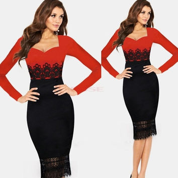 Womens Crochet Lace Elegant Tunic Wear to Work Business Party Cocktail Dress EO5 20133 Vestidos = 1745502468