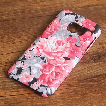 Red Floral Samsung Galaxy S7 Edge S7 Case Galaxy S6 edge+ S5 S4 S3 Samsung Note 5/4/3/2 Cover S7-018