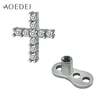 AOEDEJ Crystal Cross Dermal Anchor Piercing Jewelry Titanium Piercing Skin Diver Dermal Piercing Stainless Steel Body Jewelry