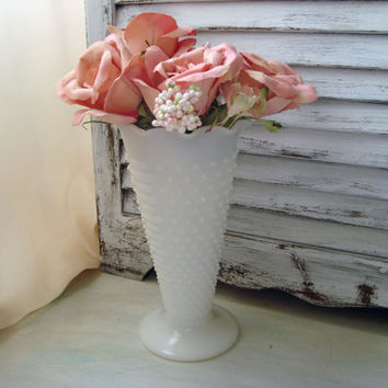 Shabby Chic Vintage Milk Glass Vase, White Vase, Cottage Chic Flower Vase, Hobnail Milk Glass Vase, Trumpet Shaped 1960's Vase