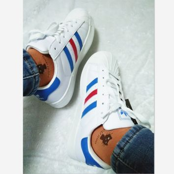 """Adidas"" Fashion Shell-toe Flats Sneakers Sport Shoes White (blue red line)"