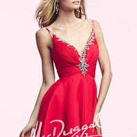 Mac Duggal 64892 - Red Beaded V-Neck Chiffon Homecoming Dresses Online