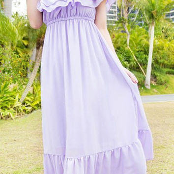 Light Purple Slash Neck Flounced Maxi Dress