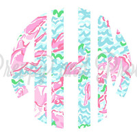 Lilly Pulitzer Inspired Monogram StickerFor Agendas, Laptop Monogram, Vinyl Monogram, Car Monogram, Personalized, Water Bottle Decal,Cooler