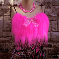 SEXY KITTY hot leopard print babydoll fashion TOP by You bad Girl / Fluffy neon pink monster fur - so indie kawaii cute retro festival punk