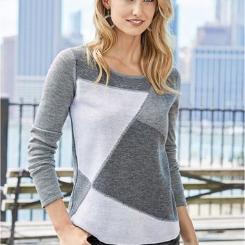VENUS | Color Block Sweater in Grey Multi