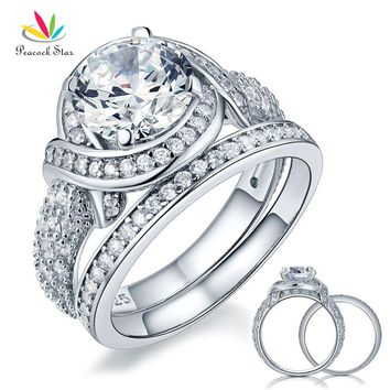 Peacock Star Luxury Solid 925 Sterling Silver Wedding Anniversary Engagement Ring Set Vintage Style 2 Ct CFR8239