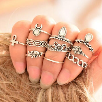 Women Vintage 10pcs/set Statement Ring Set bohemian Gypsy Boho finger Knuckle Rings