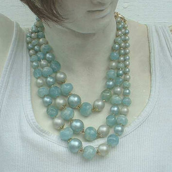 Hong Kong 3 Strand Marbled Blue Gray Beads Vintage Bead Necklace