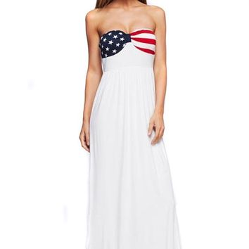 American Flag Strapless White Summer Maxi Dress U.S.A