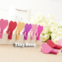 Heart Mini Clothespin Set - Gold, Pink, Purple & Red (12 pcs) Korean Stationery Clothespins Photo Clips E0178