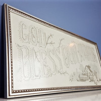 Vintage Needlepoint God Bless Our Home Framed White Gray Silver Pewter Vintage Home Decor Farmhouse Decor Grey Gray Home Sign Wall Hanging