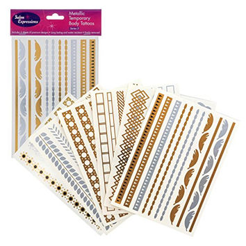 Metallic Temporary Tattoos- Six Sheets of Gold and Silver Long Lasting Flash Fashion Designs (Series 3)