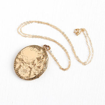 Art Nouveau Locket - Antique Gold Filled Pendant Necklace - Vintage 1900 Edwardian Initials LPR Monogrammed Photograph Personalized Jewelry