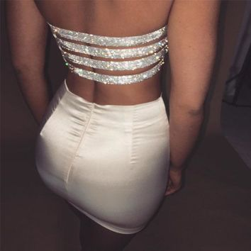Summer Fashion Dresses Sexy hollow out Two Pieces Bandage Bodycon Dress Women Solid Sleeveless strapless Christmas Party Dresses