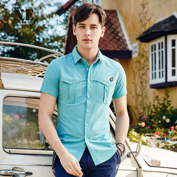 Summer Men Short Sleeve Casual Slim England Style Shirt [7951248643]