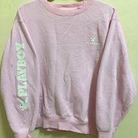 Vintage 90's Playboy Pink Classic Design Skate Sweat Shirt Sweater Varsity Jacket Size M #A95