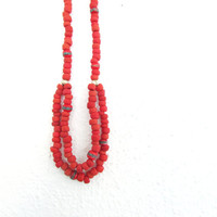 Red Clay Necklace, Eco friendly African Beads Colorful Women Jewelry