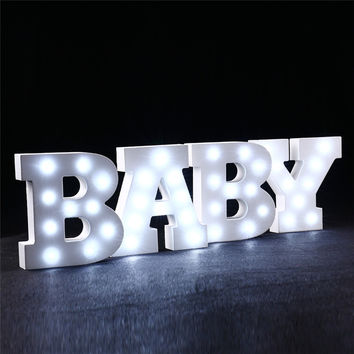 Wooden LED Alphabet Letter Lights Wedding Birthday Party Decoration Wall Decoration Night Lights Holiday Home Supplies